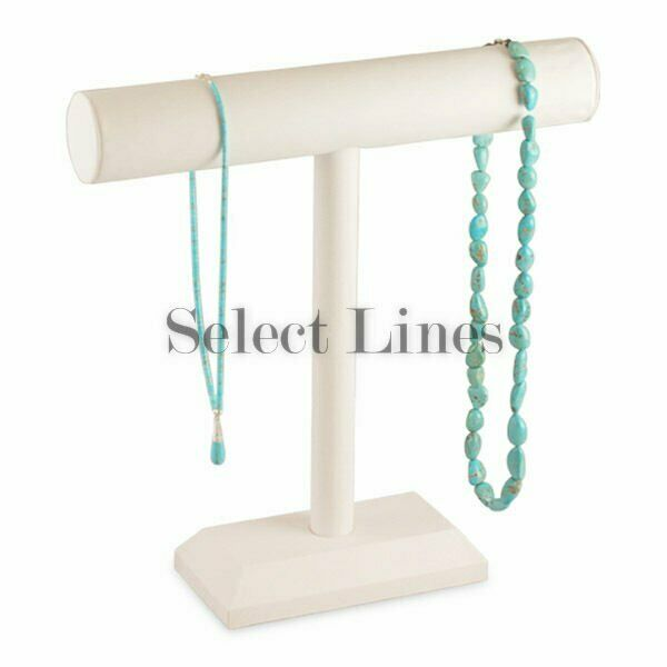 White Faux Leather Necklace T Bar 12 Quot H Jewelry Holder