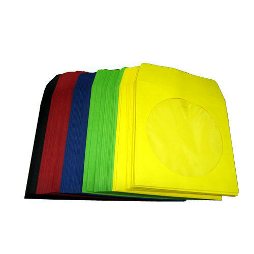 100 paper sleeve multi color red green blue yellow for 100 paper cd sleeves with window flap