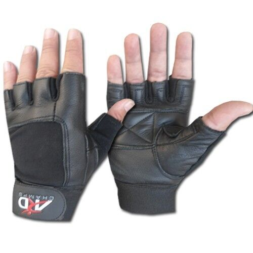Leather Weight Lifting Gloves Long Wrist Wrap Exercise
