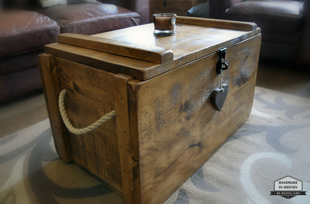 Rustic Wooden Chest Trunk Blanket Box Shabby Vintage Coffee Table Ottoman Ebay
