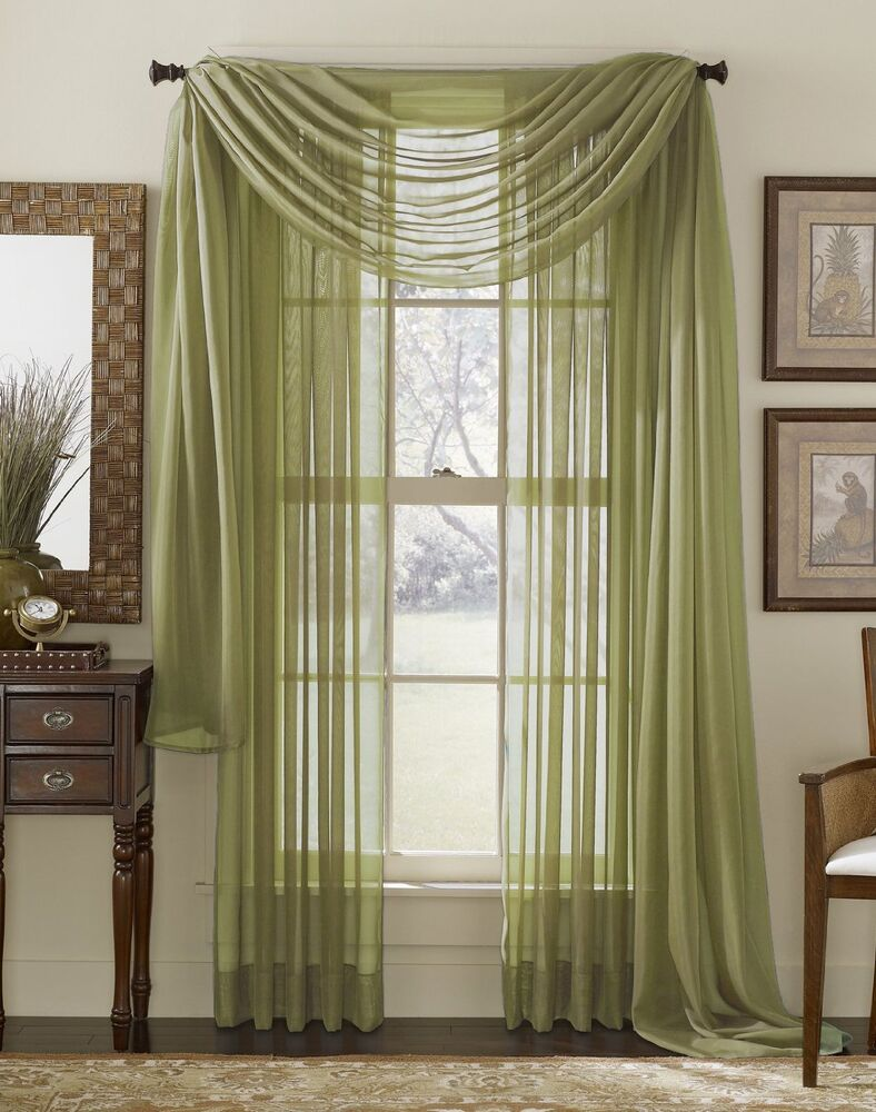 Elegance Sage Sheer Valance Scarf Window Treatment Covering 216 Long New Ebay