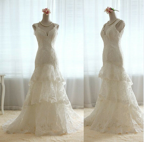 Tiered lace vintage style wedding gown any size new style for Ebay vintage wedding dress