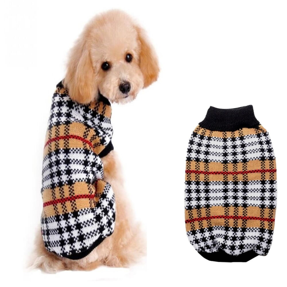 Knitting Patterns For Xxs Dogs : Dog Sweater Tartan XXS XS S M L - Coat Puppy Pet Clothes ...