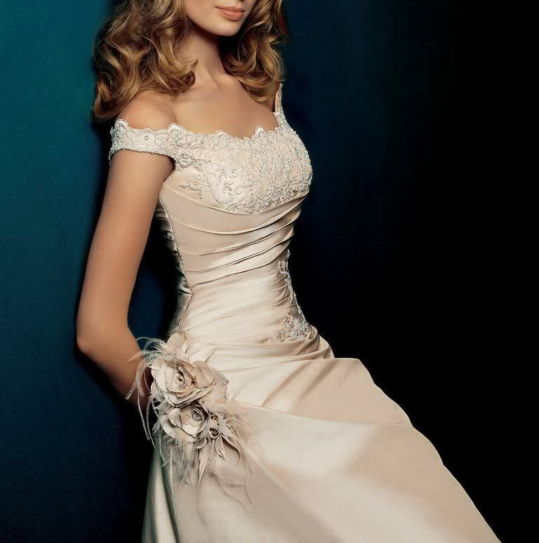 2015 White Ivory Champagne Wedding Dress Bridal Gown