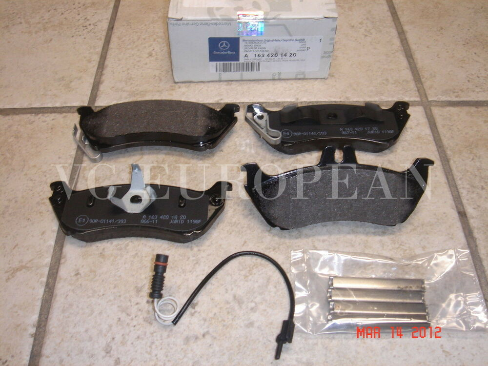 mercedes ml class genuine rear brake pad set pads w sensor