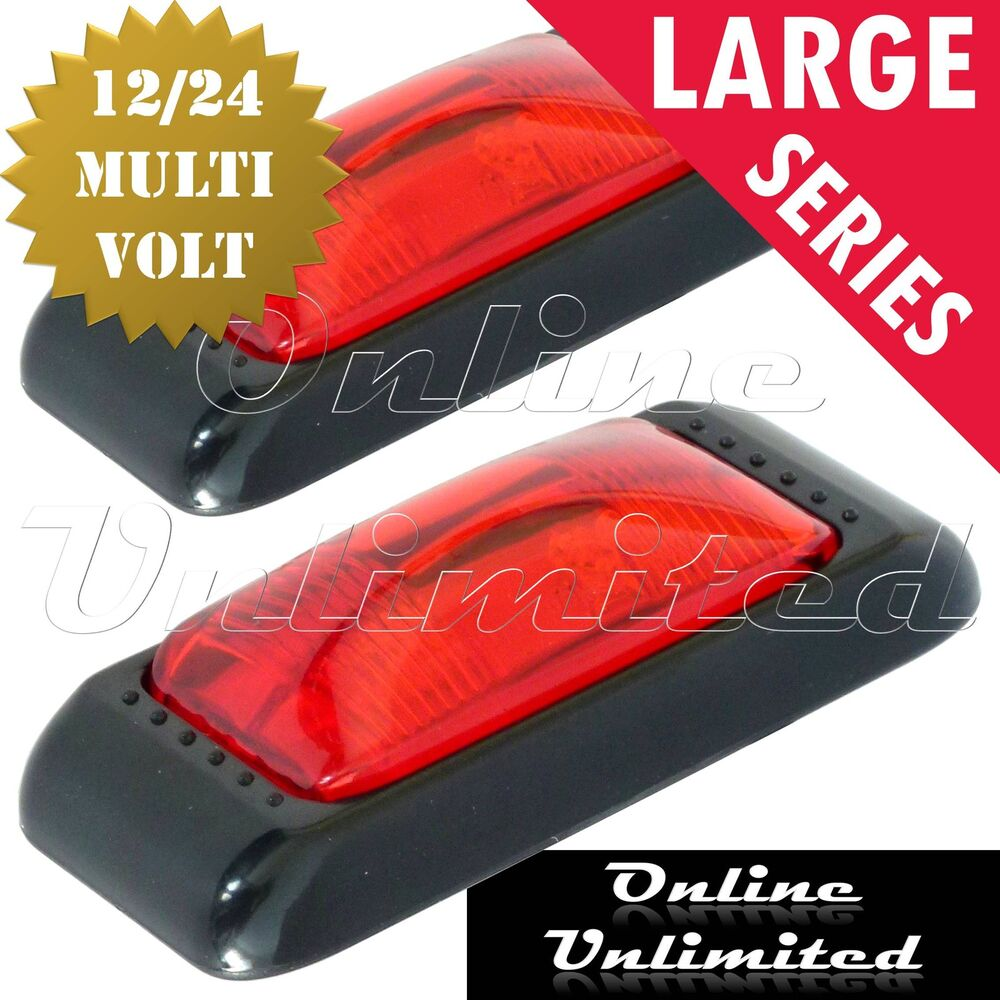red led marker lights 110 x 50mm 12 24 volt large rear. Black Bedroom Furniture Sets. Home Design Ideas