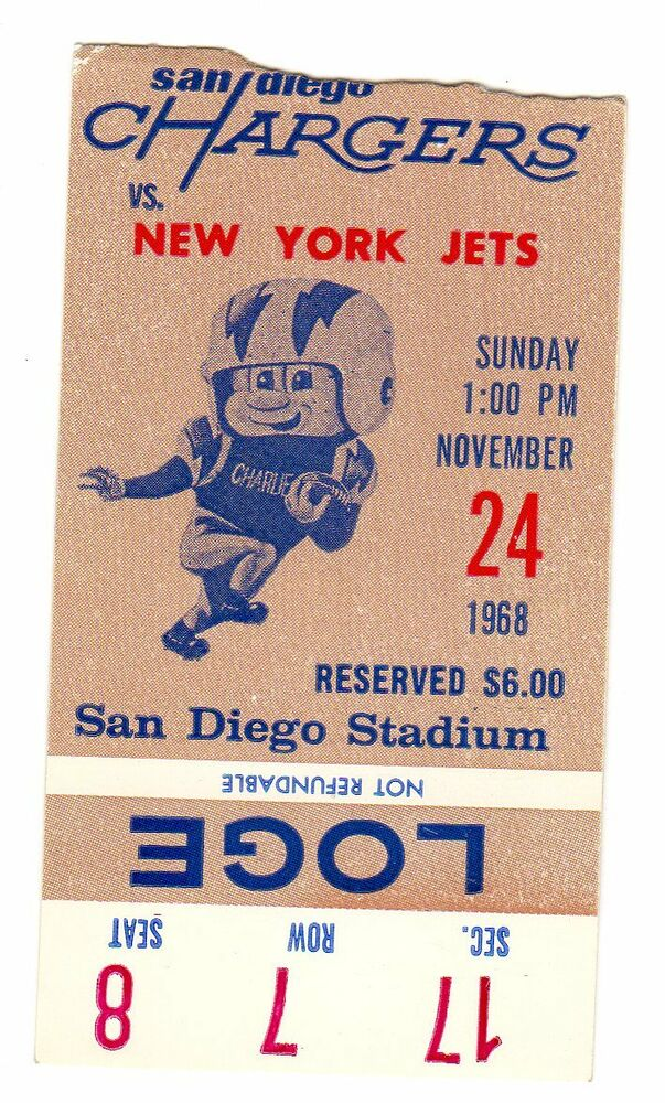 1968 New York Jets World Champions Ticket Stub San Diego