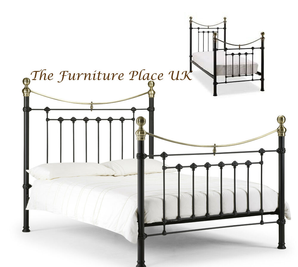 Victoria Bed Frame In Satin Black And Brass