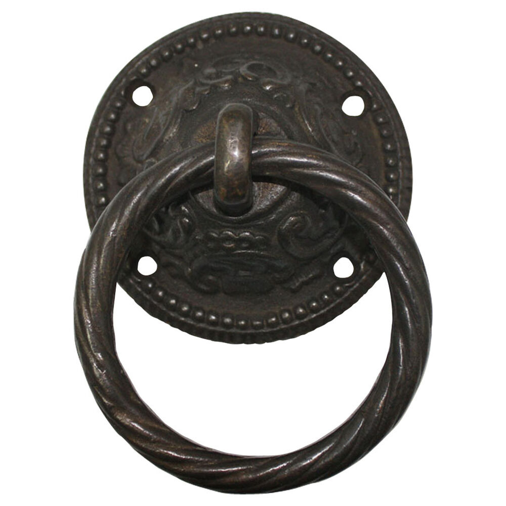 1 X Antique Black Heavy Metal 95 Mm Drop Ring Stable Shed