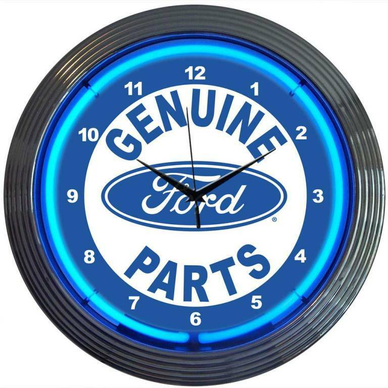 Ford Parts Neon Clock Sign Mustang Ford Motor Oval Muscle