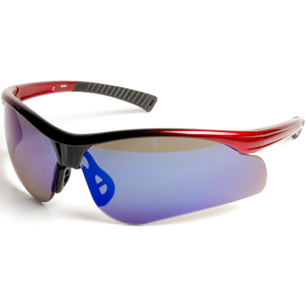 Blue Mirror Lens Wrap Around Cycling Safety Glasses ...