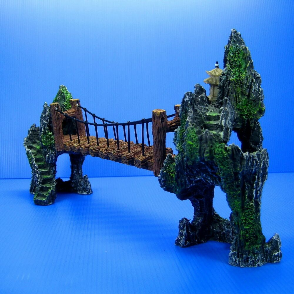 Mountain drawbridge aquarium ornament 14 7 bridge rock for Aquarium bridge decoration