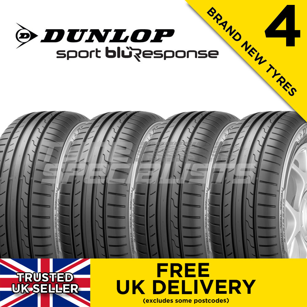 4x new 205 55 16 dunlop sport blu response 91v tyre 205 55. Black Bedroom Furniture Sets. Home Design Ideas