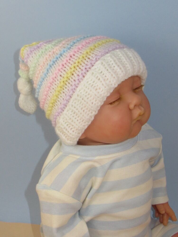Newborn Pixie Hat Knitting Pattern : PRINTED INSTRUCTIONS - BABY CANDY STRIPE TOPKNOT PIXIE HAT KNITTING PATTERN ...