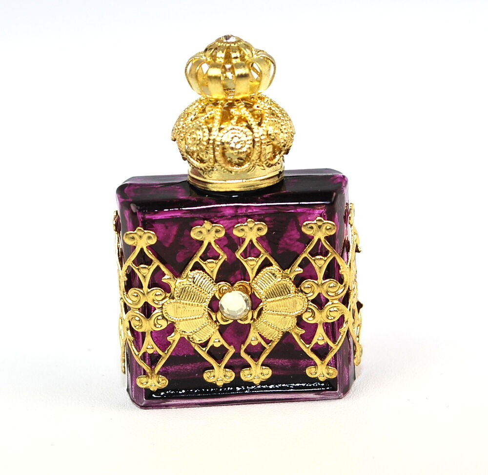 Wholesale Decorative Perfume Bottles: New Czech Victorian Style Purple Perfume/Oil Bottle/Holder