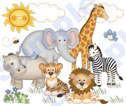 Jungle zoo animals wall mural decals baby nursery kids for Baby jungle safari wall mural