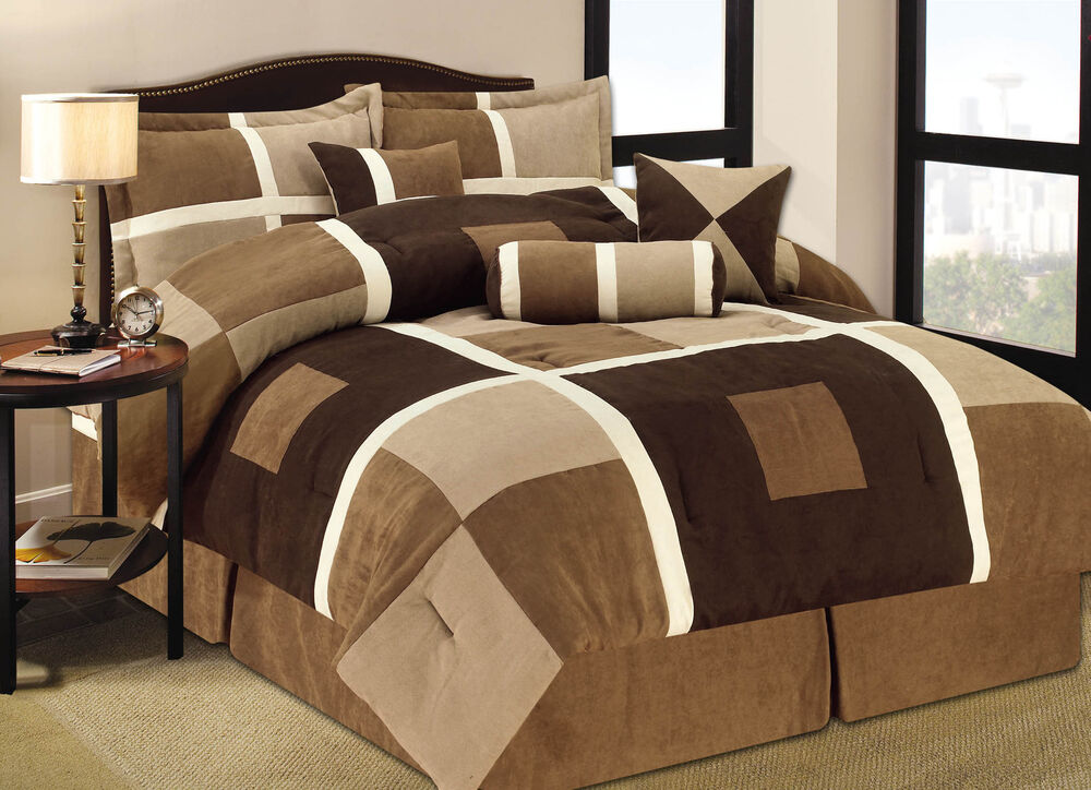 7 Pieces Brown Amp Beige Suede Geometric Patchwork Comforter