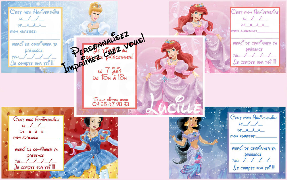 carte invitation anniversaire princesse disney blanche niege jasmine cendrillon ebay. Black Bedroom Furniture Sets. Home Design Ideas