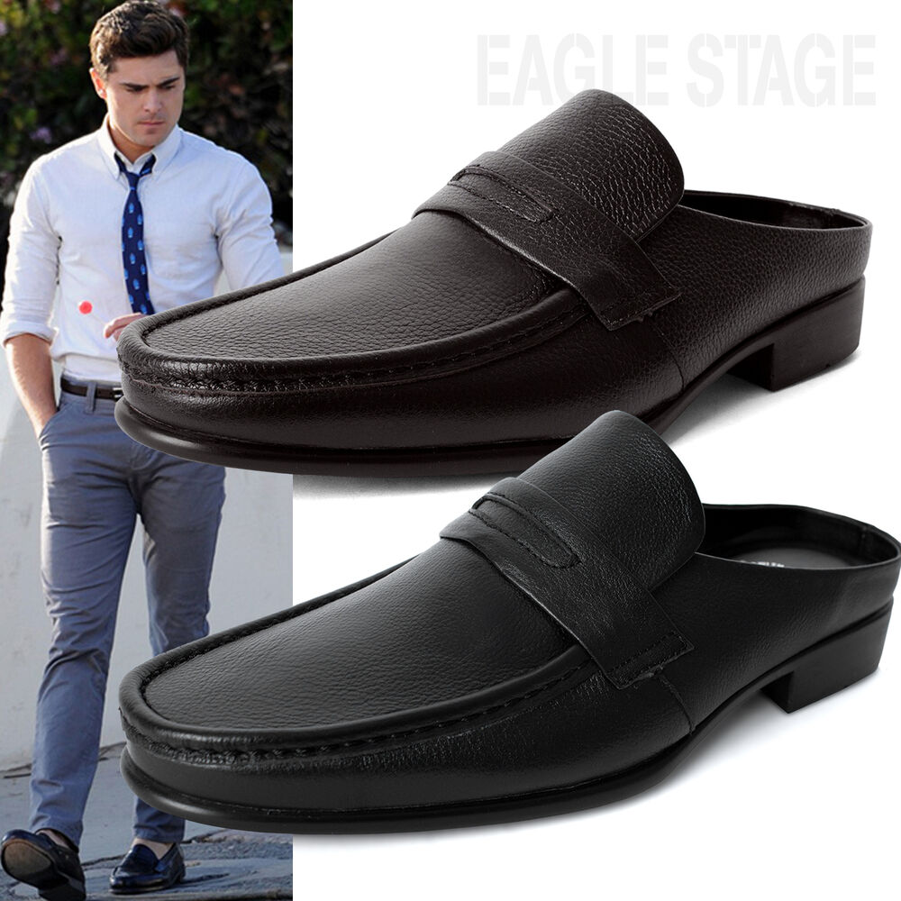 EagleStage New Mens Penny Loafer Leather Mules Open Back ...