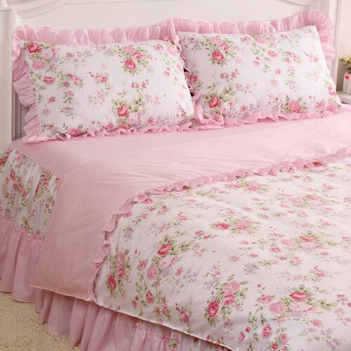 4 pcs pink rose floral check princess bedding duvet comforter cover set style l ebay. Black Bedroom Furniture Sets. Home Design Ideas