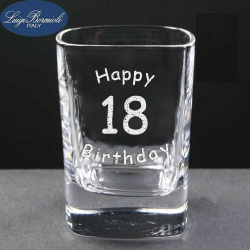 Personalised Engraved 2oz Square Shot Glass 18th 21st 30th