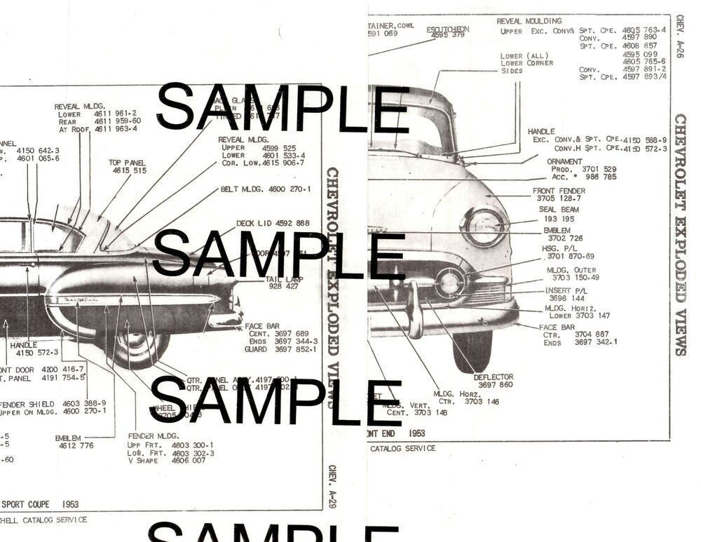 1954 chevrolet bel air 210 54 body  u0026 panel diagrams parts