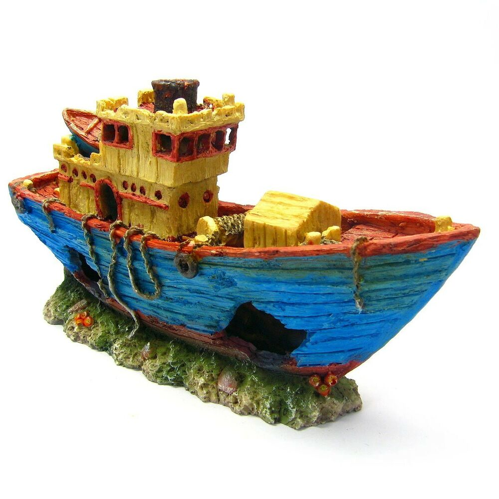 Fishing boat 10 8 ancient ship aquarium ornament for Aquarium decoration shipwreck