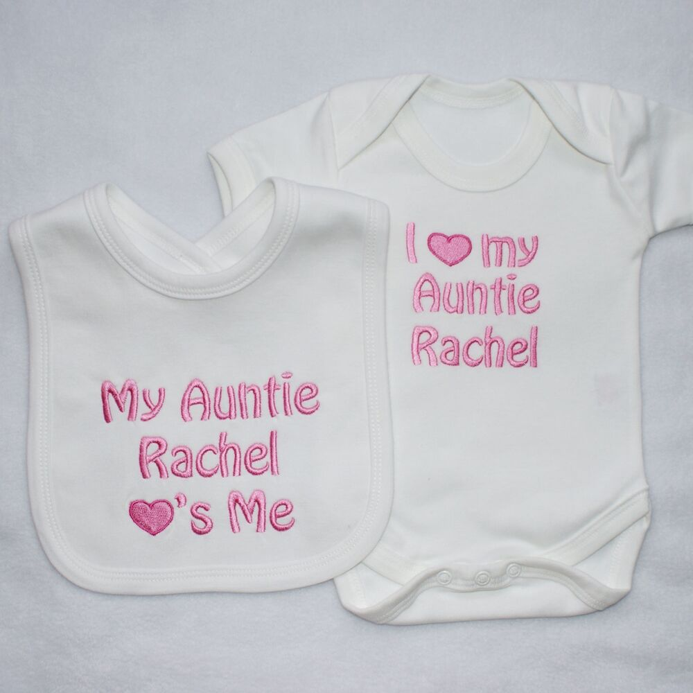 Personalised Baby Clothes Vest and Bib Set I my ADD