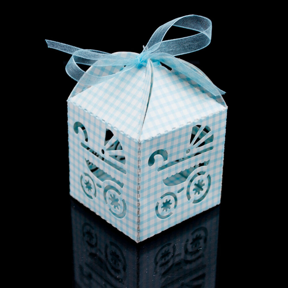 Blue White Checkered Baby Carriage Favor Candy Box Party