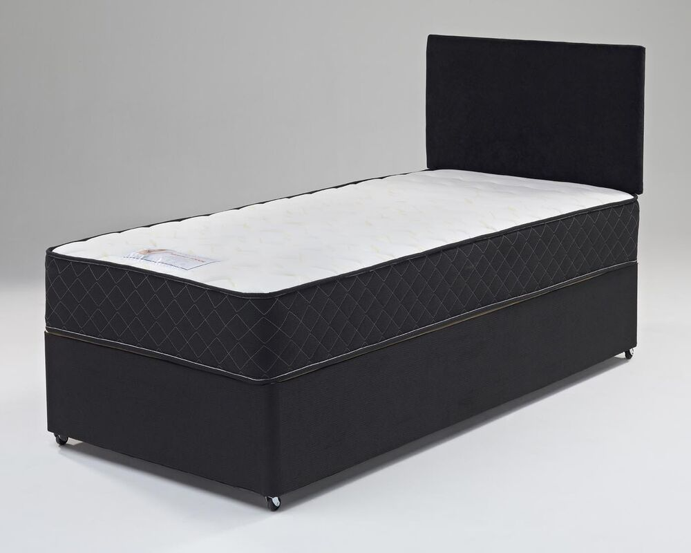 2ft6 3ft 4ft 4ft6 5ft Black Divan Bed Memory Foam Mattress