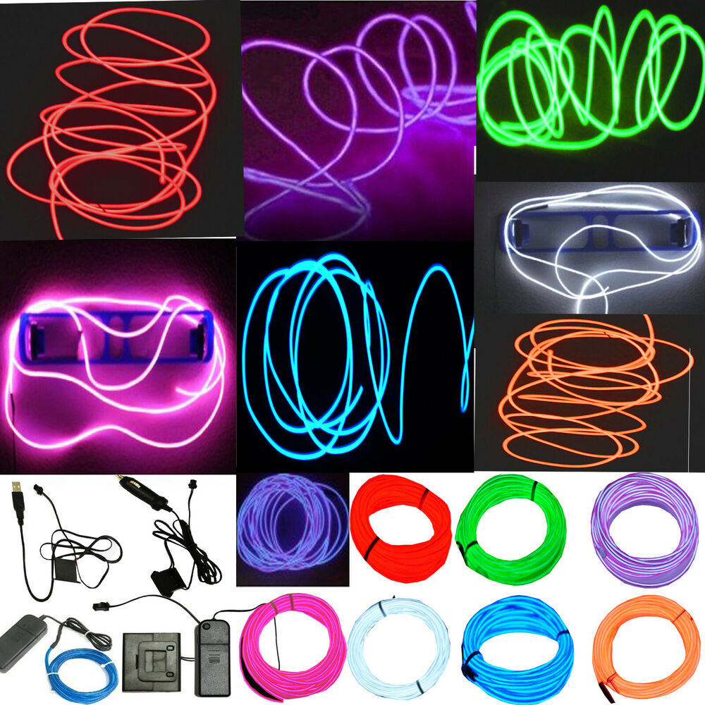 neon led light glow el wire string strip rope tube decor car party controller ebay. Black Bedroom Furniture Sets. Home Design Ideas