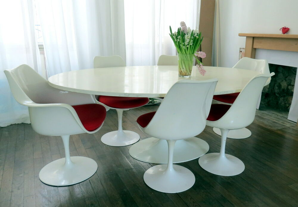 eero saarinen large oval tulip table 6 chairs ebay. Black Bedroom Furniture Sets. Home Design Ideas
