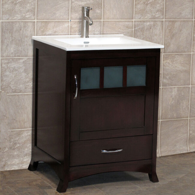 24 Bathroom Vanity Cabinet Ceramic Top Sink Faucet Tr1 Ebay