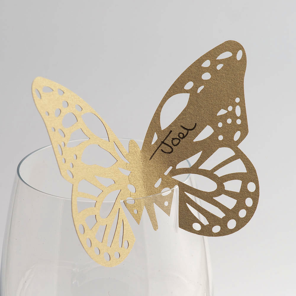 Gold butterfly wedding stencil glass name place cards ebay for Butterfly wedding