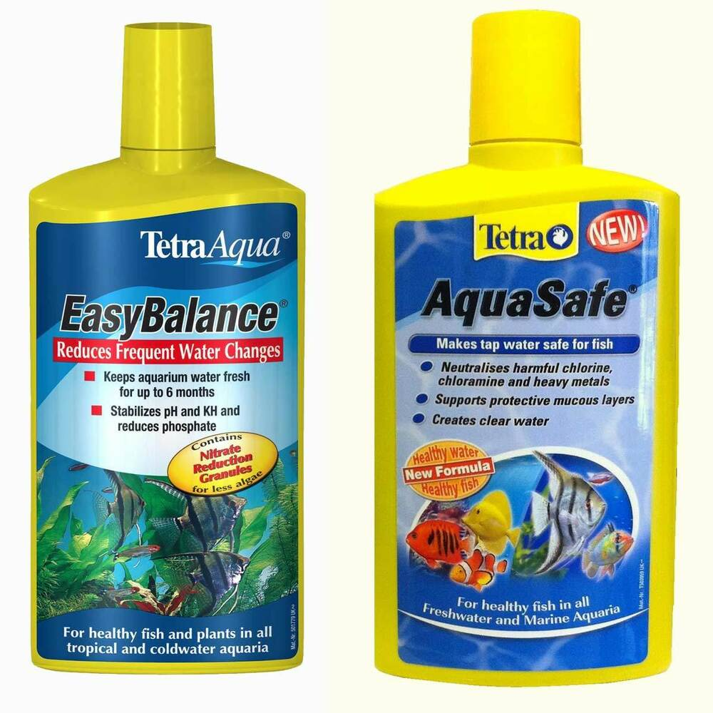 tetra easy balance aquasafe twin pack 100ml 250ml 500ml fish tank treatment ebay. Black Bedroom Furniture Sets. Home Design Ideas