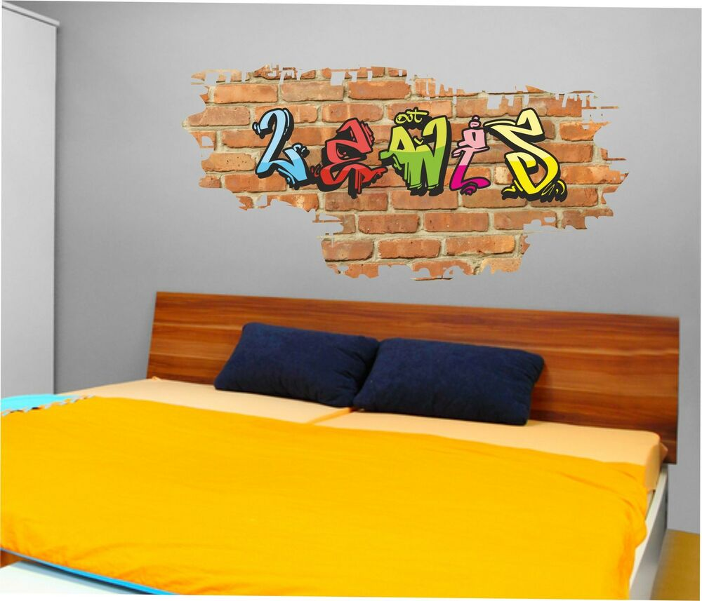 decal graphic personalised graffiti brick name wall