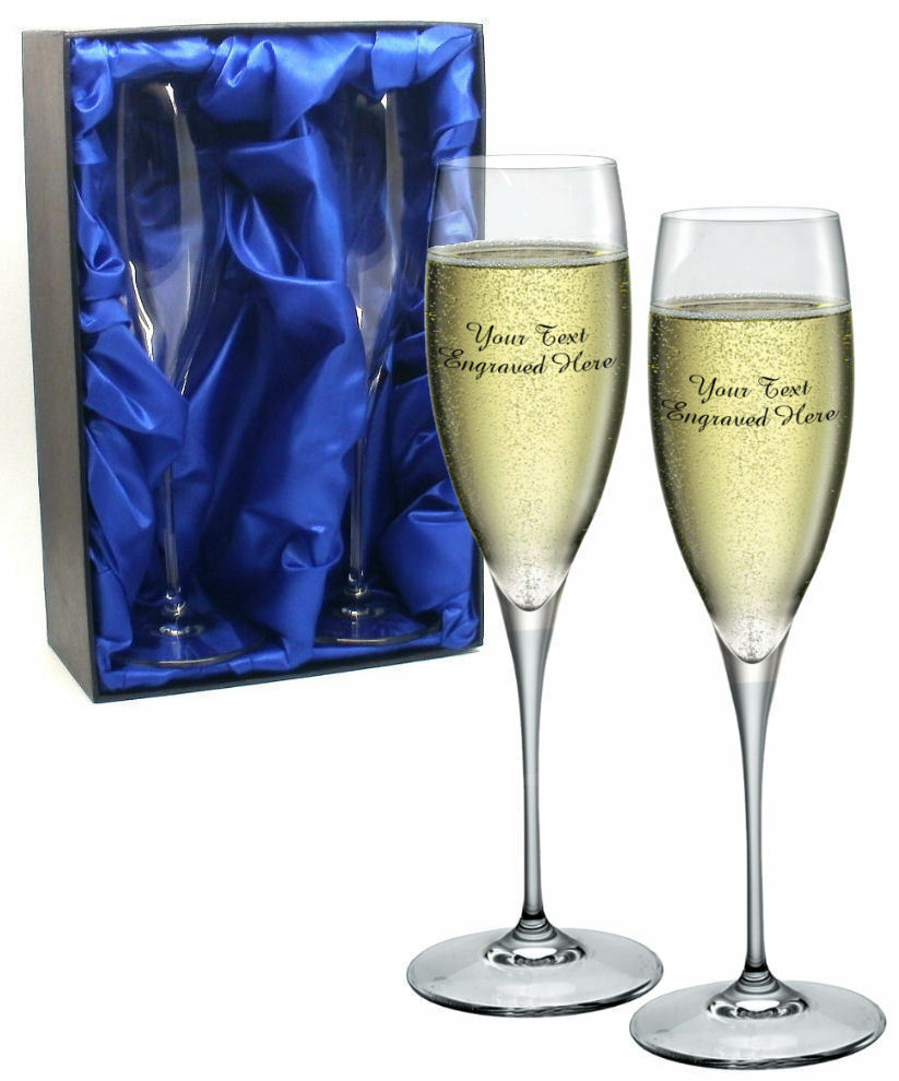 Wedding Present Champagne Glasses : ... Champagne Glasses Flutes Engraved Wedding Favor Thank You Gift eBay