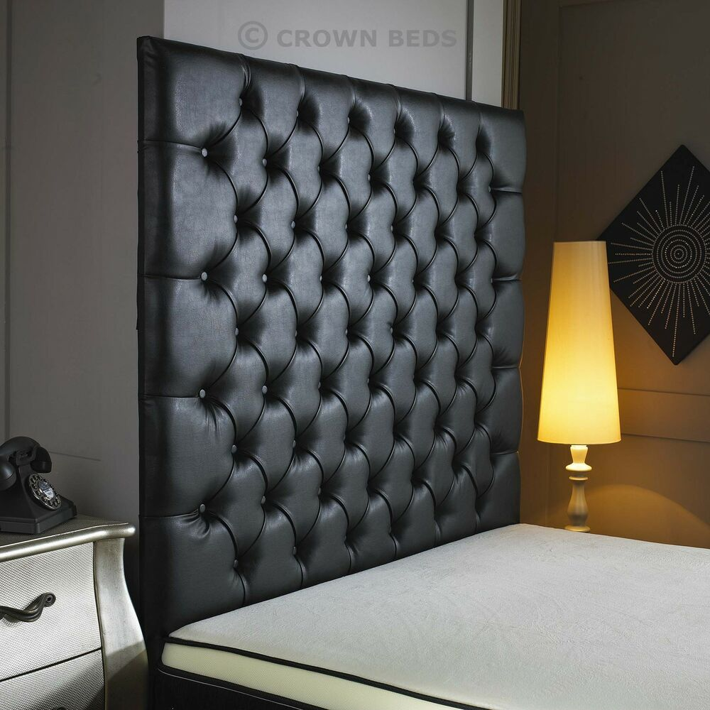 top quality crown wall diamonte leather headboard in 2ft6 3ft 4ft