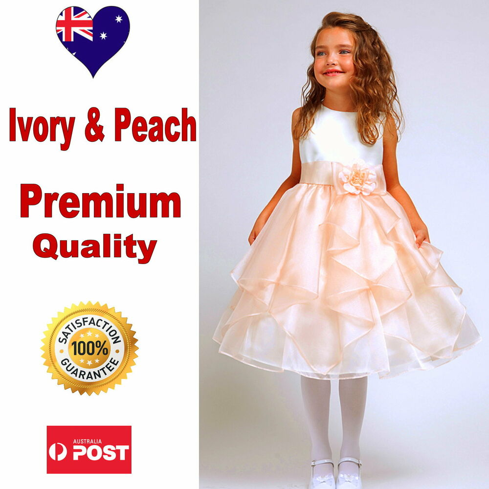 Ivory Peach Flower Girl Dress Wedding Bridesmaid Pageant