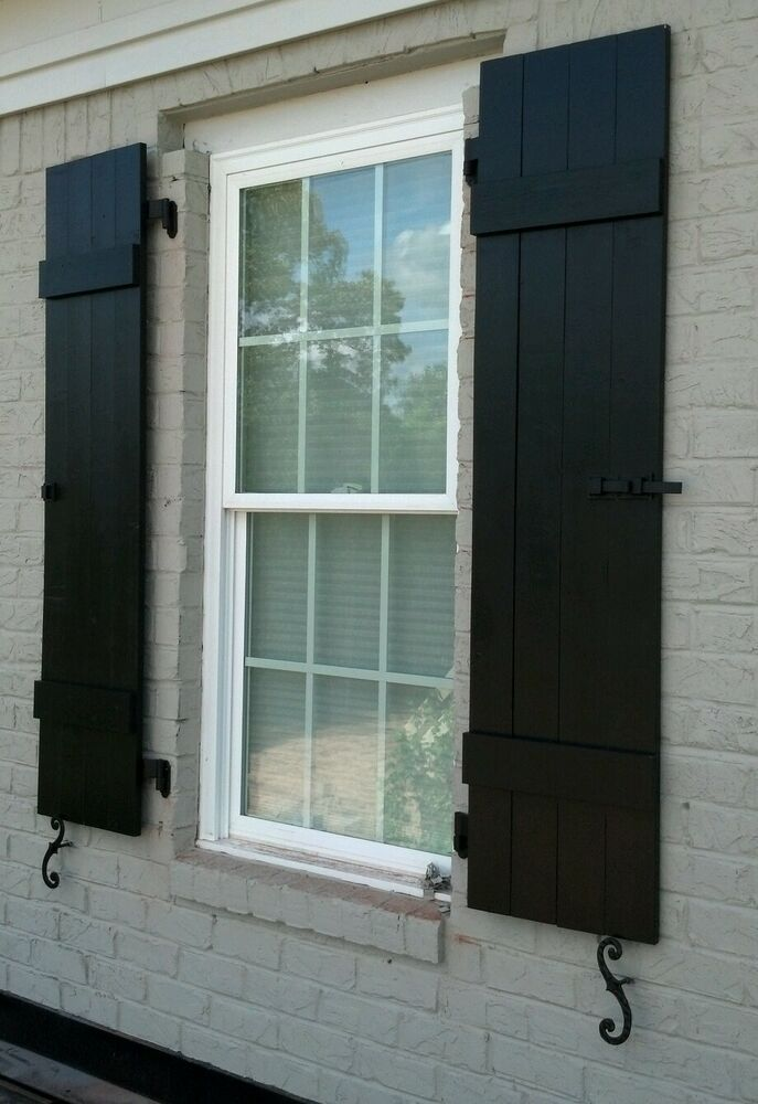 Custom Black Board And Batten Wood Shutters EBay