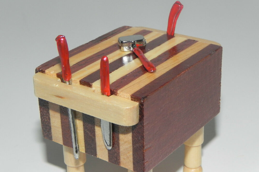 Dollhouse miniature wooden butcher block table and red for Table utensils
