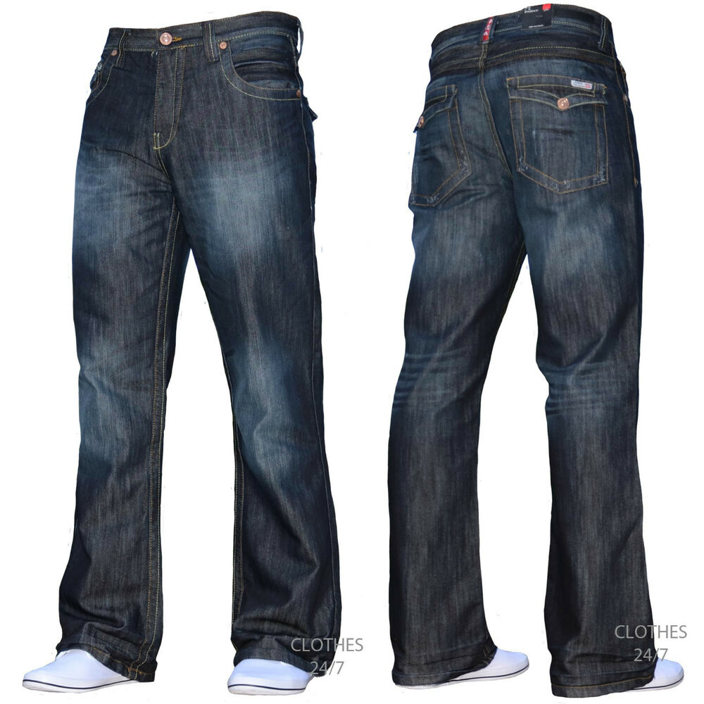 BNWT NEW MENS BOOTCUT FLARED WIDE LEG DARK BLUE DENIM ...