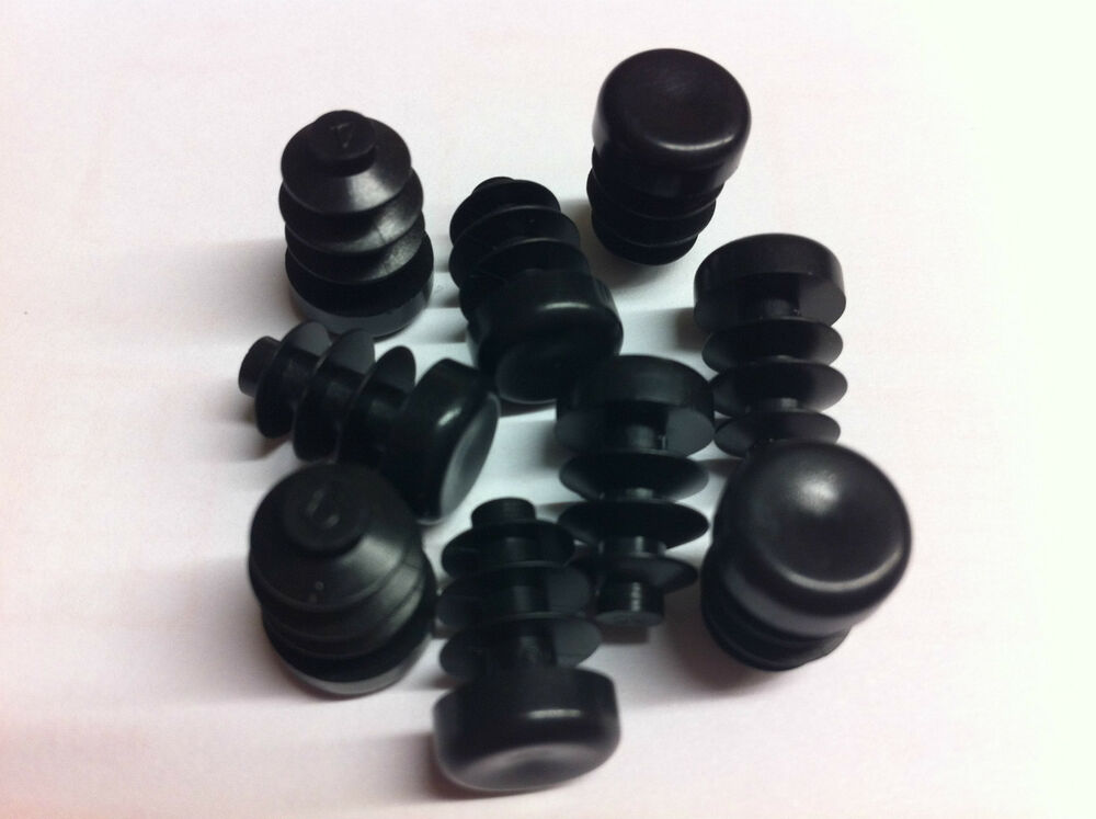 4 10mm black plastic blanking end cap caps round tube pipe insert bung ebay. Black Bedroom Furniture Sets. Home Design Ideas