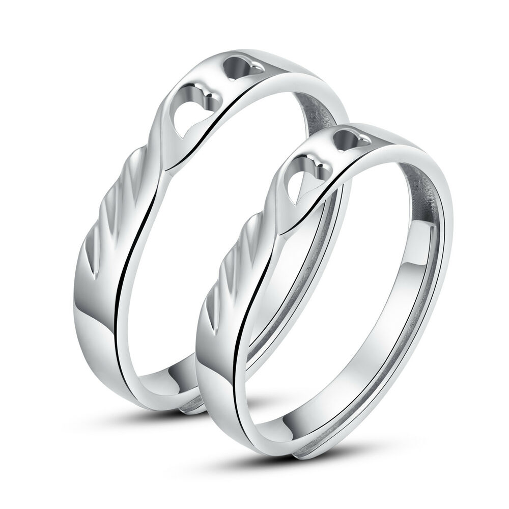 his and hers 925 silver promise rings adjustable open ring