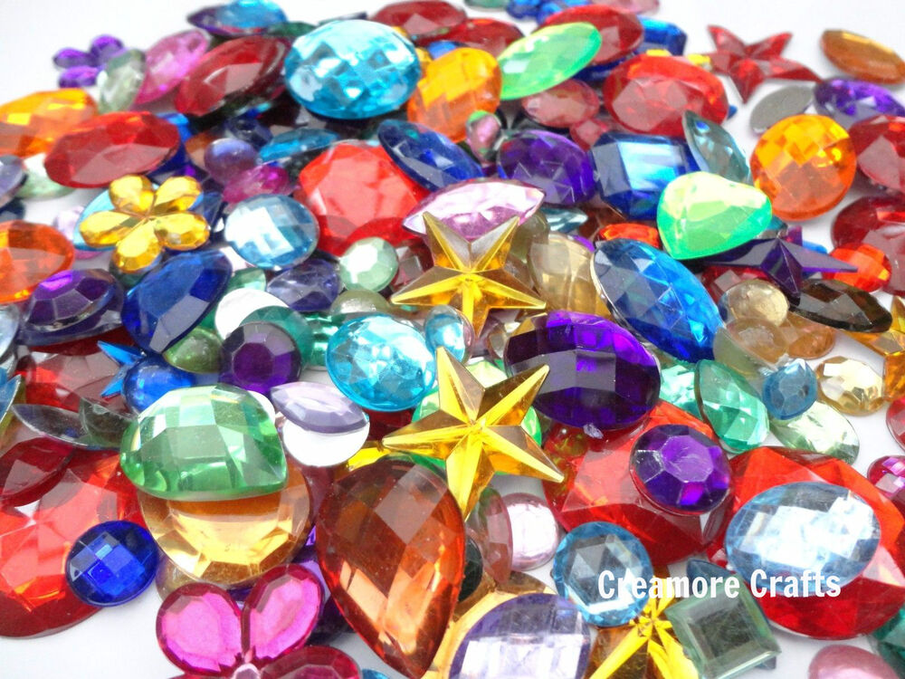 Mixed acrylic jewels gemstones card making crafts for Plastic gems for crafts