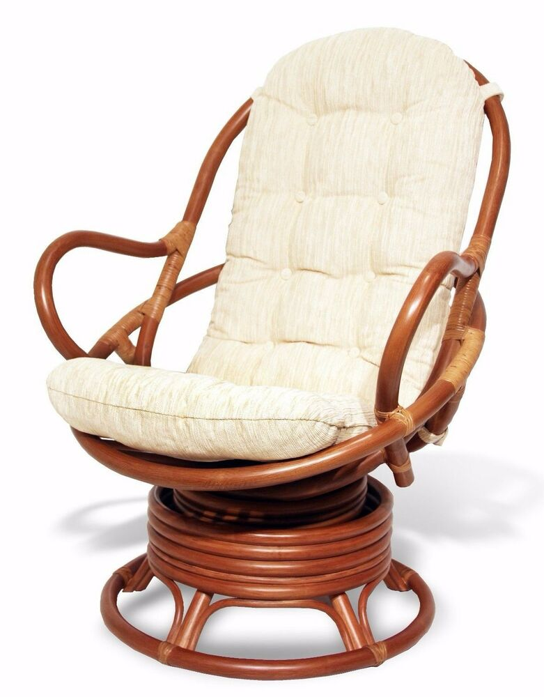 Java Handmade Design Rattan Wicker Swivel Rocking Chair