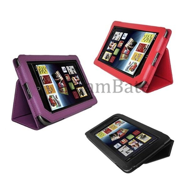 Red Black Purple Leather Case Cover For Barnes Noble Nook