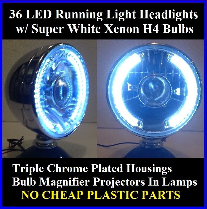 Dune Buggy Lights : Xenon h white led running lights headlights chrome dune