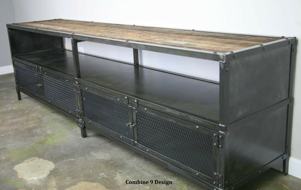 media console tv stand vintage industrial reclaimed wood. Black Bedroom Furniture Sets. Home Design Ideas
