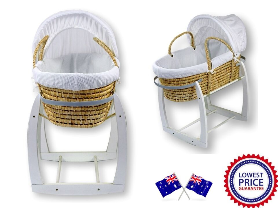 NEW Baby MOSES BASKET / Bassinet and WHITE ROCKING STAND ...